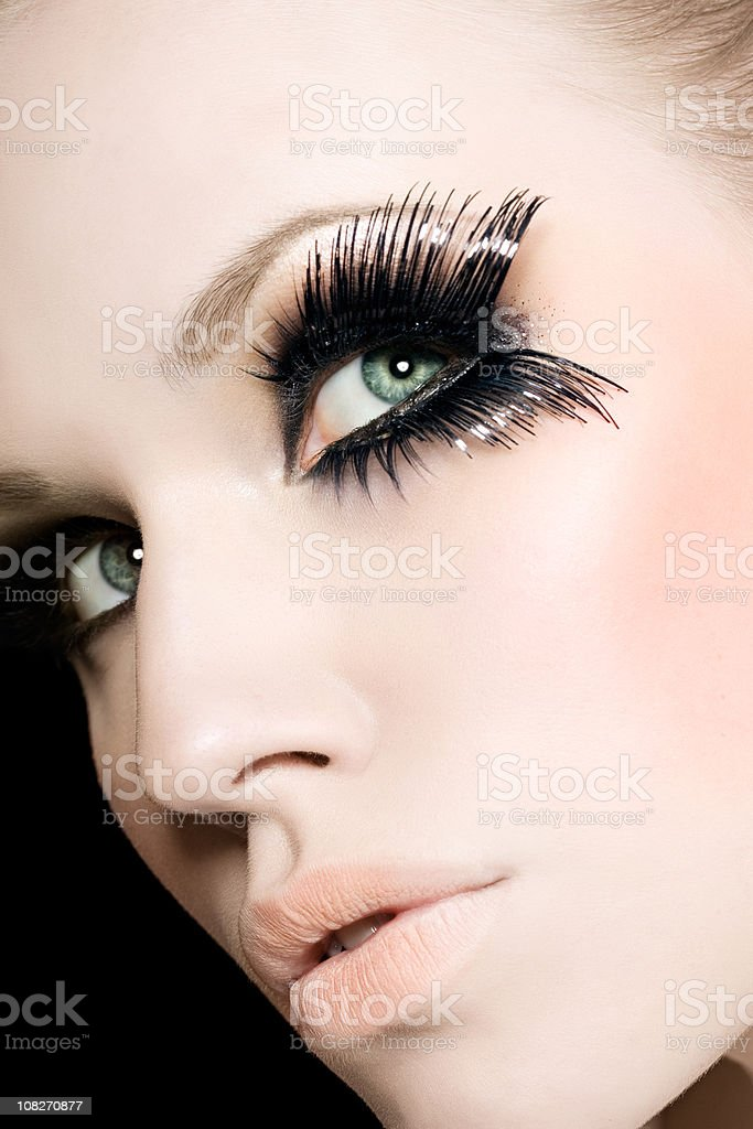 Young Woman Wearing Black Fake Eye Lashes royalty-free stock photo