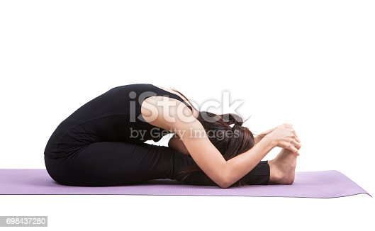 young woman wearing black suit playing yoga body back healthy care isolated white