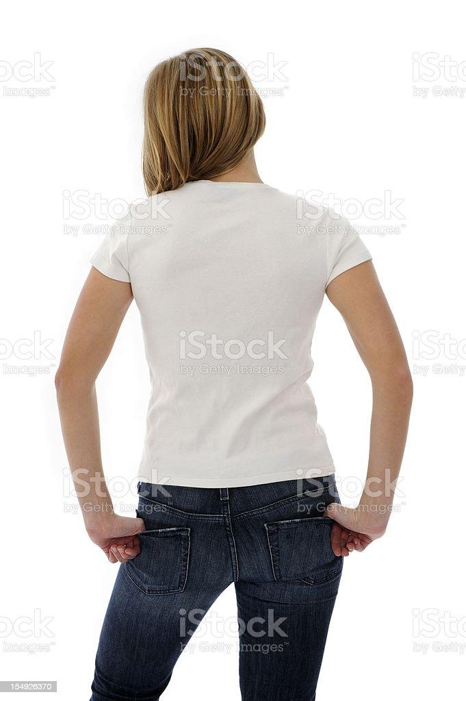 Young Woman Wearing Blank Tee Shirt stock photo