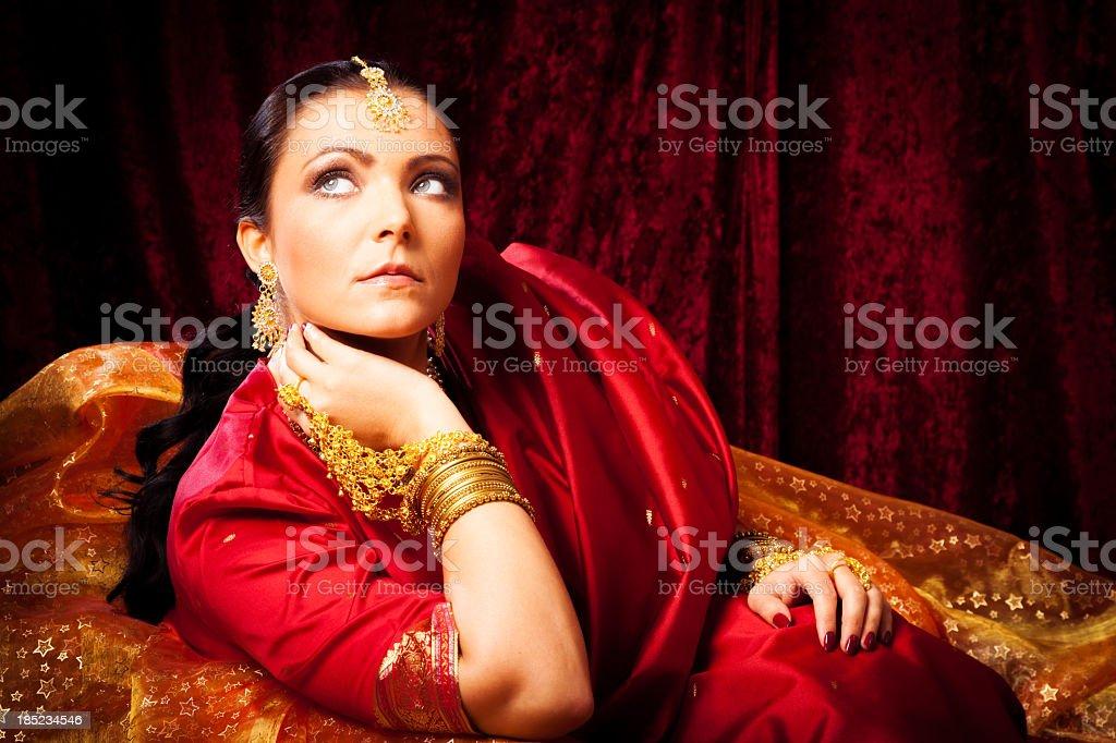 young woman wearing bollywood-style sari stock photo