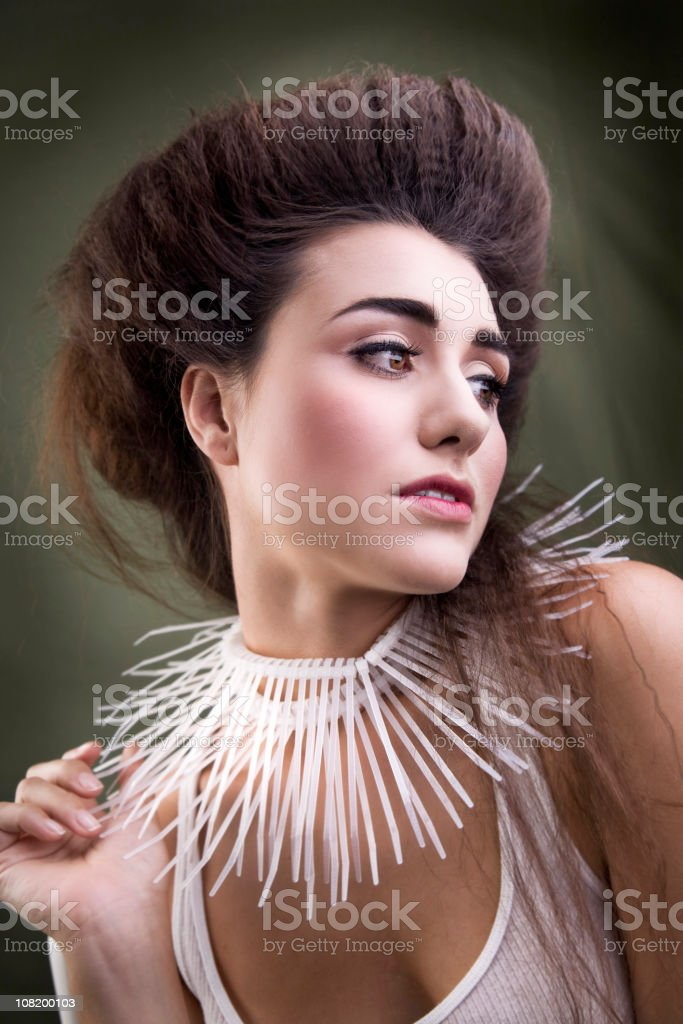 Young Woman Wearing Collar Necklace royalty-free stock photo
