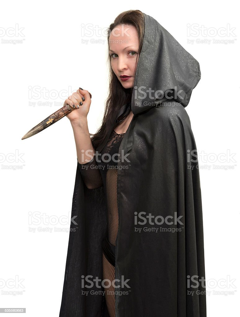 Young woman wearing costume of vampire killer stock photo