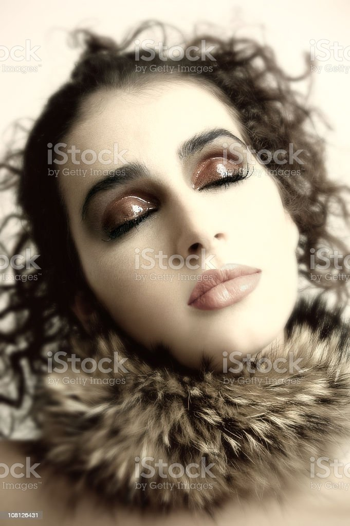 Young Woman Wearing Fur Collar royalty-free stock photo