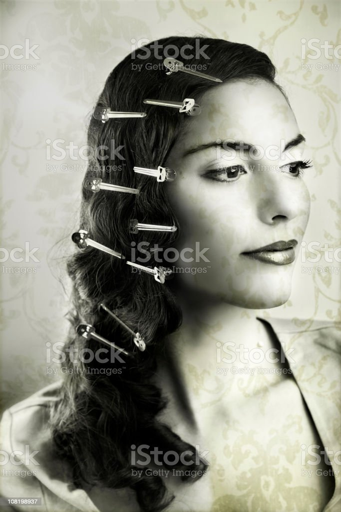 Young Woman Wearing Hair Clips, Black and White stock photo
