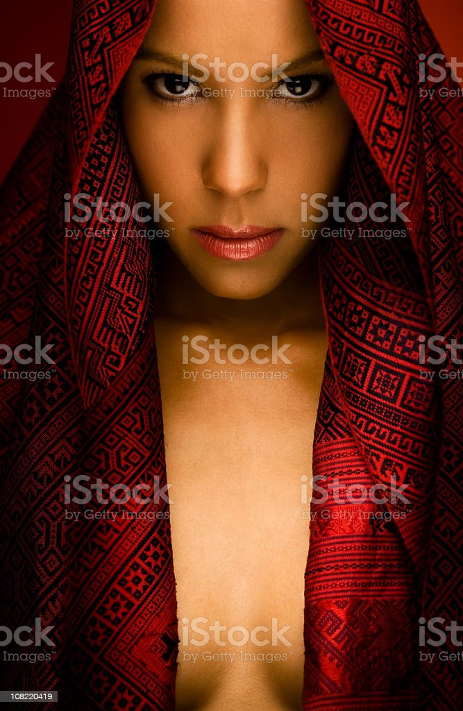 Young Woman Wearing Hooded Scarf royalty-free stock photo