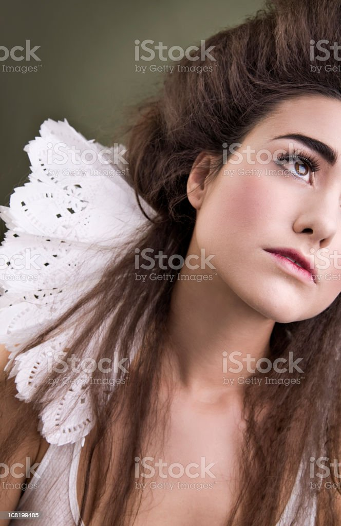 Young Woman Wearing Large White Collar royalty-free stock photo
