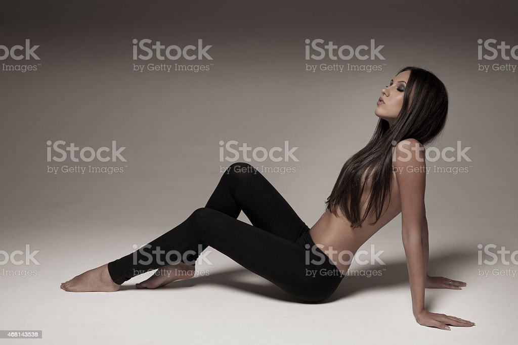 Young woman wearing leggings stock photo