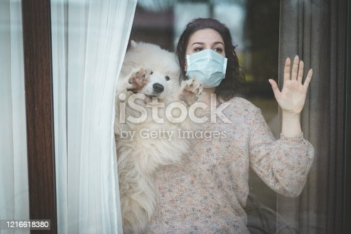 istock Young woman wearing medical mask, standing near the window with dog 1216618380