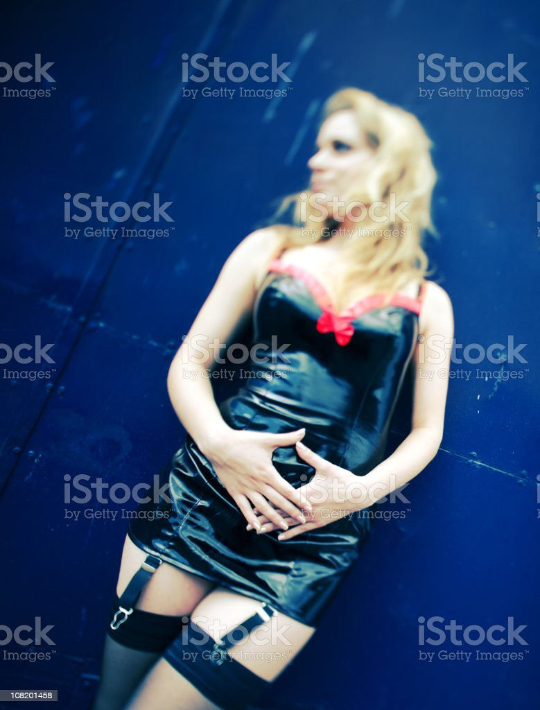 Young Woman Wearing Pleather Lingerie stock photo