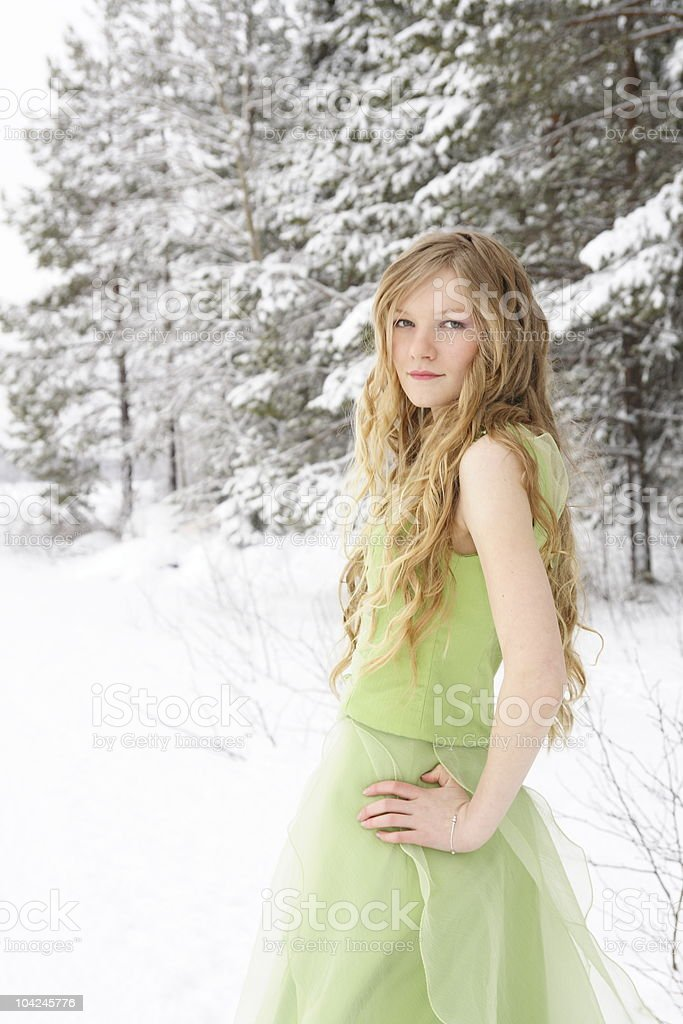 Young woman wearing prom dress royalty-free stock photo