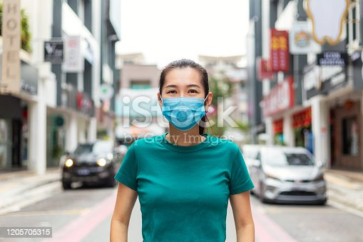 Young woman wearing protective face mask in city street due to the polluted air