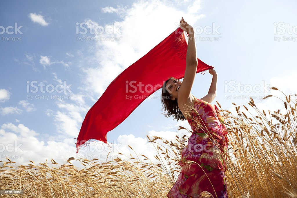 Young Woman Wearing Red Dress Holding Reddish Scarf In Wind stock photo