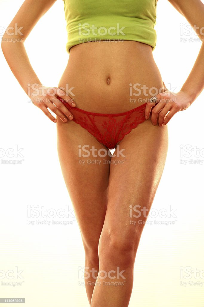 Young Woman Wearing Red Lingerie royalty-free stock photo