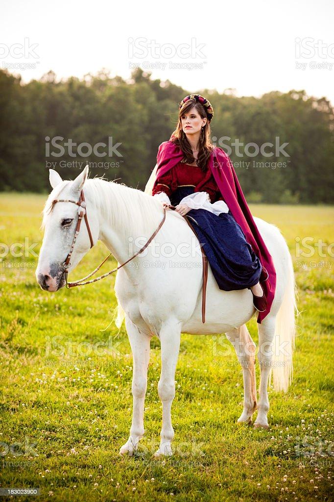 Young Woman Wearing Renaissance Dress Sitting Side Saddle on Horse royalty-free stock photo