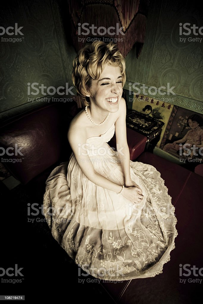 Young Woman Wearing Retro Gown royalty-free stock photo