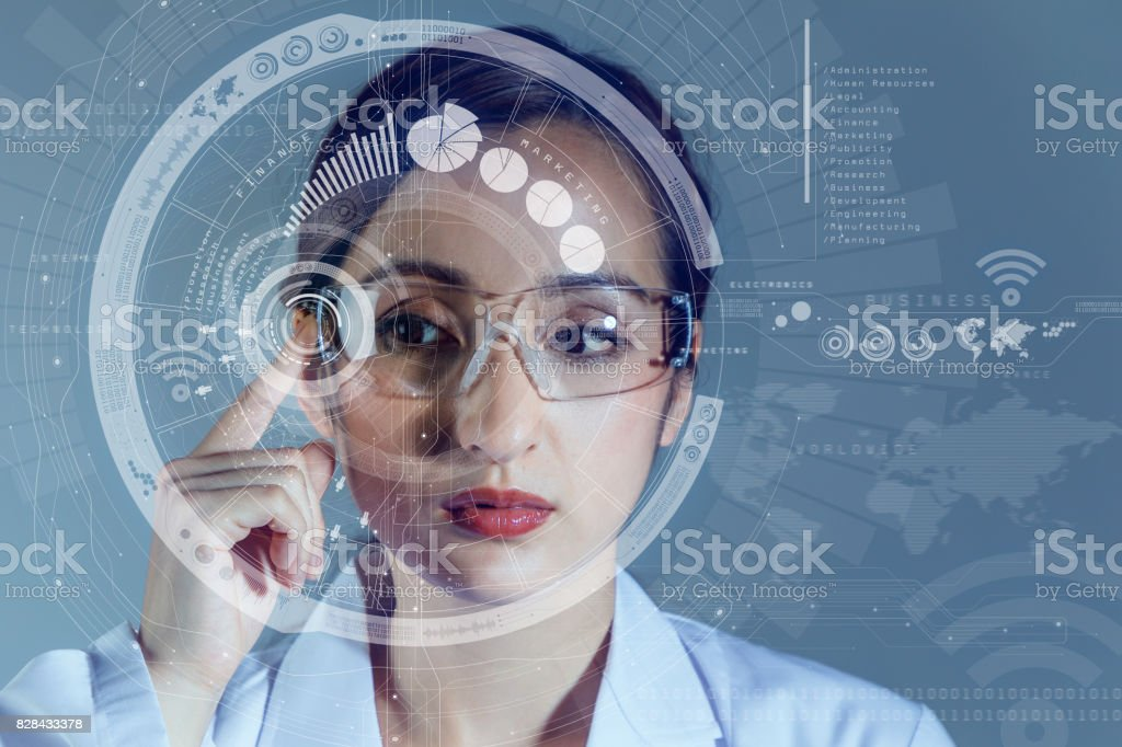 young woman wearing smart glasses. wearable computing concept. stock photo
