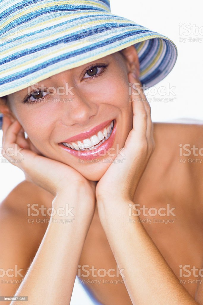 Young woman wearing sun hat royalty-free 스톡 사진