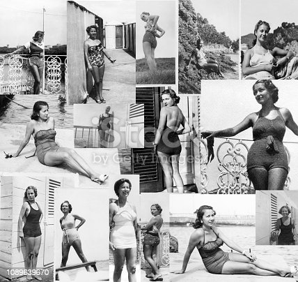 Young Woman Wearing Swimwear. Composite image. Black And White