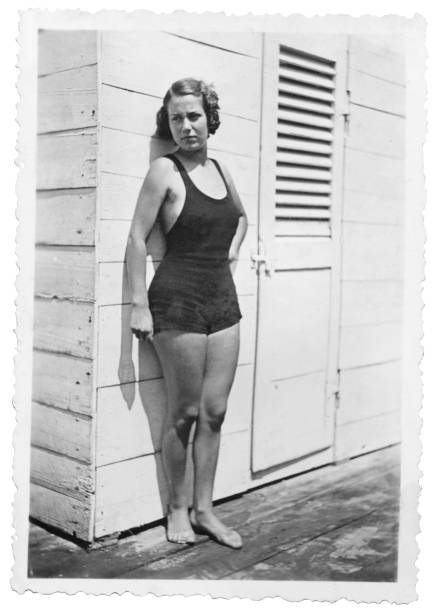 Young Woman Wearing Swimwear in 1934. Black And White - foto stock
