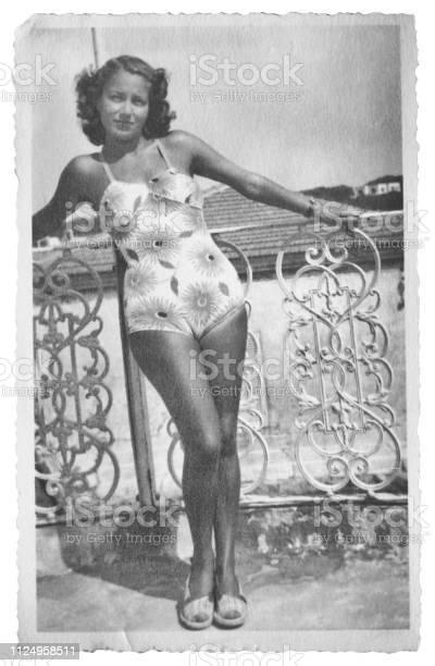 Young Woman Wearing Swimwear in 1941