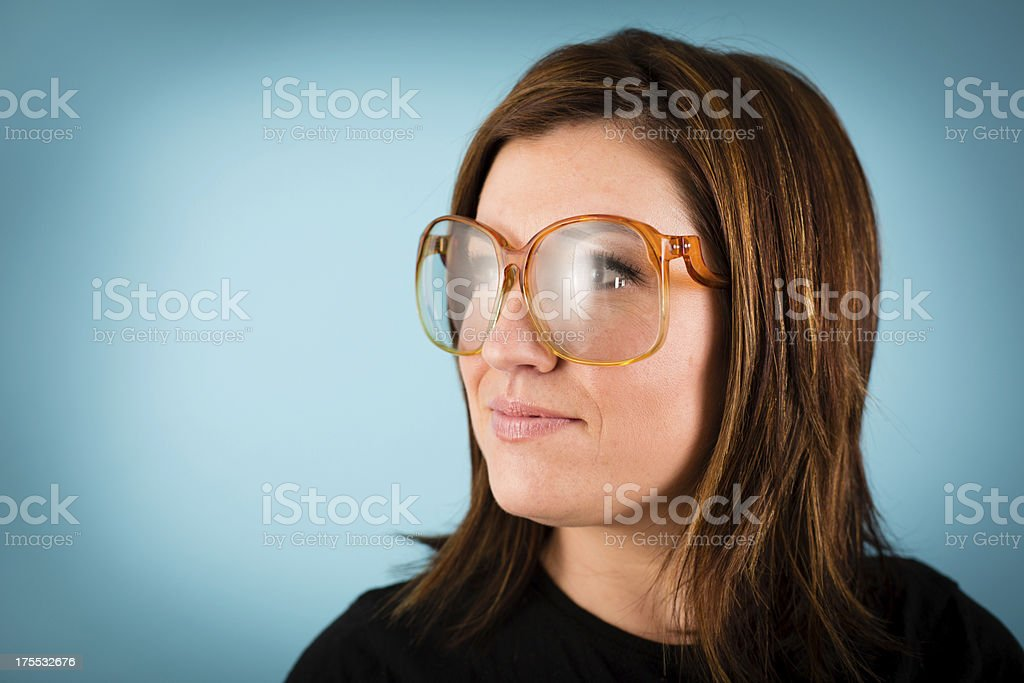 Young Woman Wearing Vintage Eyeglasses, With Copy Space stock photo