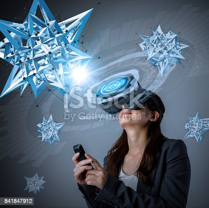 872677426 istock photo young woman wearing virtual reality goggles and floating 3D network image. 3D rendering graphics. abstract mixed media. 841847912