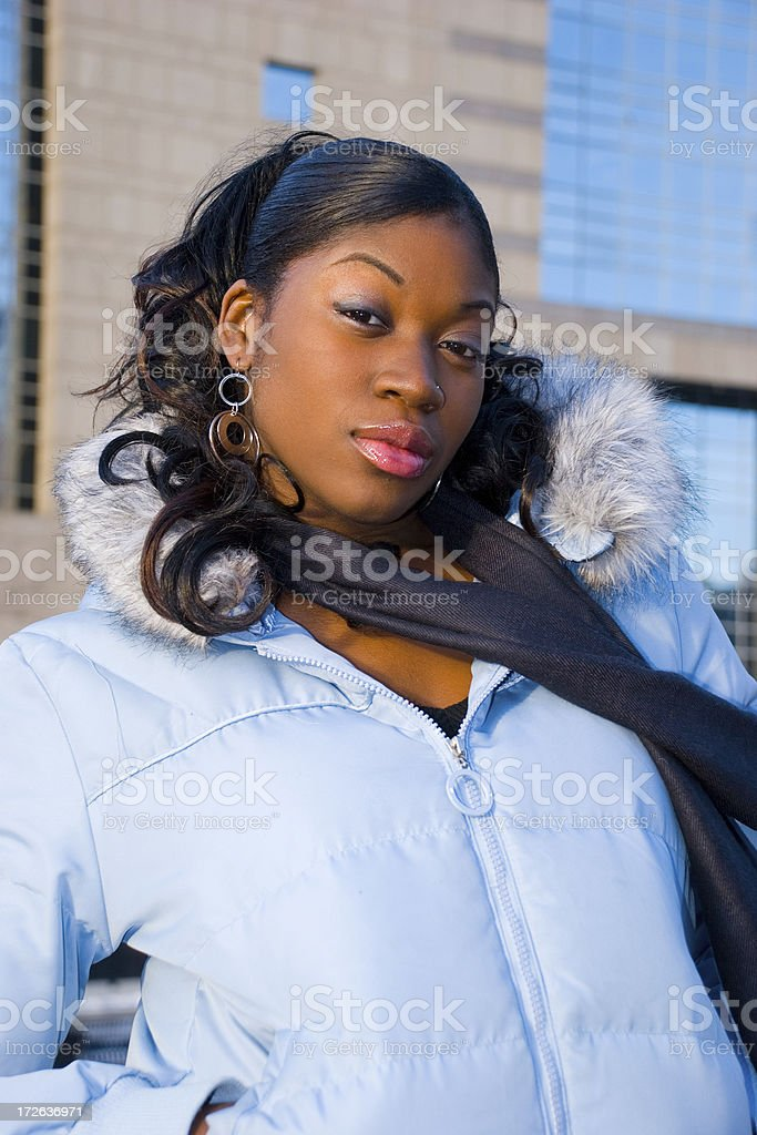 Young woman wearing winter jacket. royalty-free stock photo