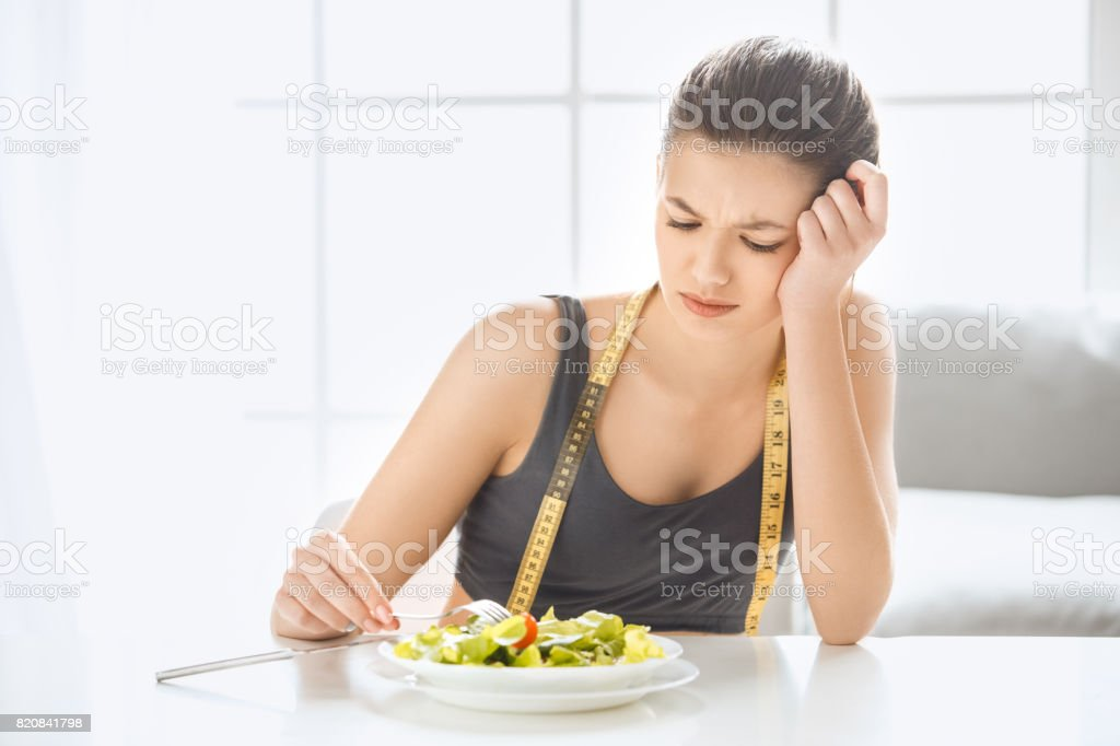 Young woman weight loss perfect body shape stock photo