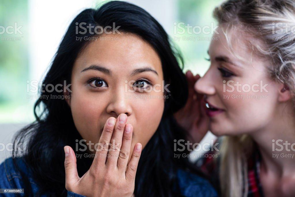Genç kadın sürpriz kadın arkadaşına fısıldıyor royalty-free stock photo