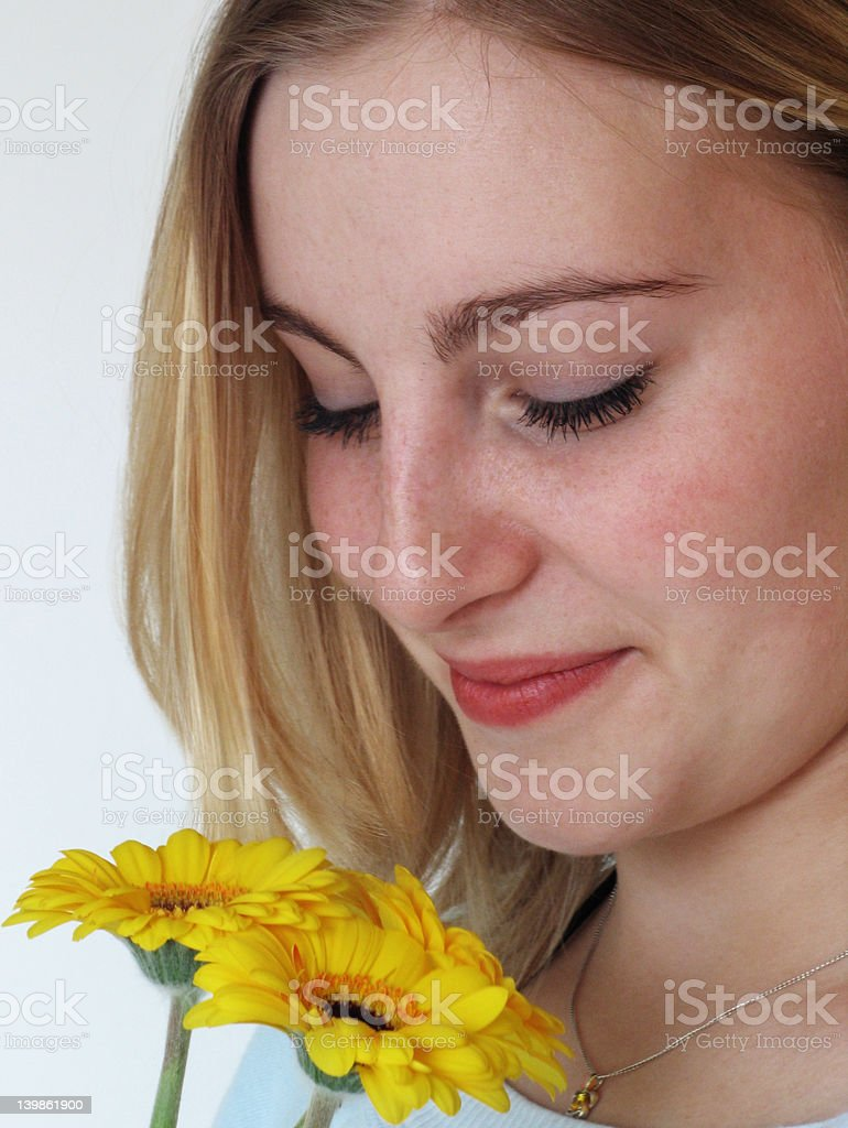 Young woman white flowers stock photo