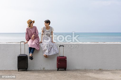 Fun girls journey image In the ocean of Okinawa