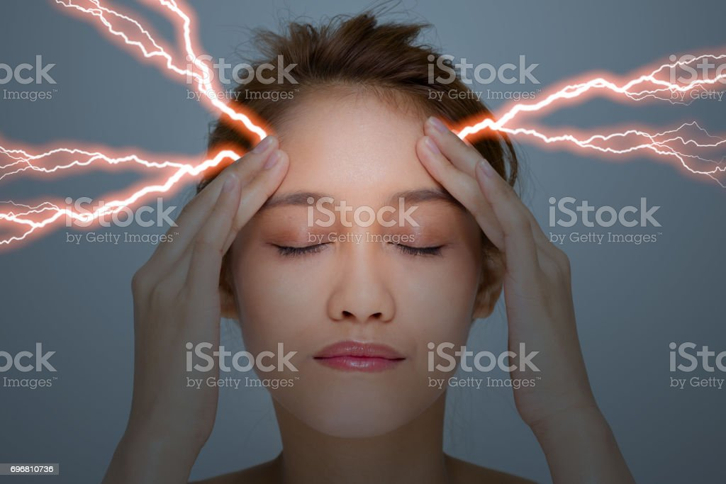 young woman who have a headache stock photo