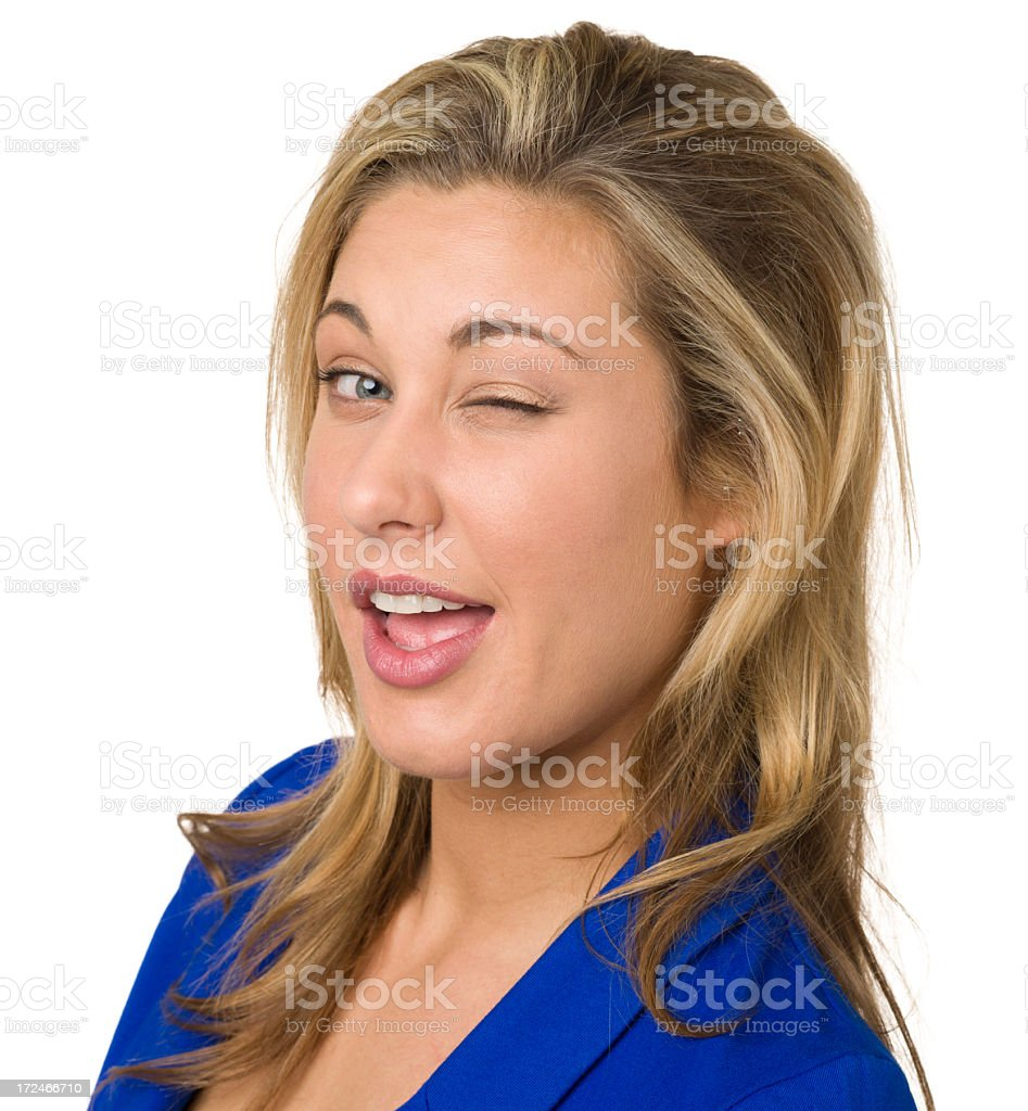 Young Woman Winking royalty-free stock photo
