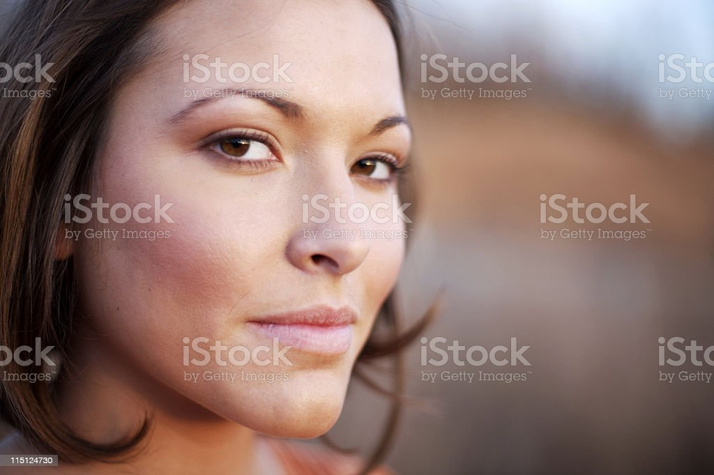 young woman winter sunset portraits royalty-free stock photo