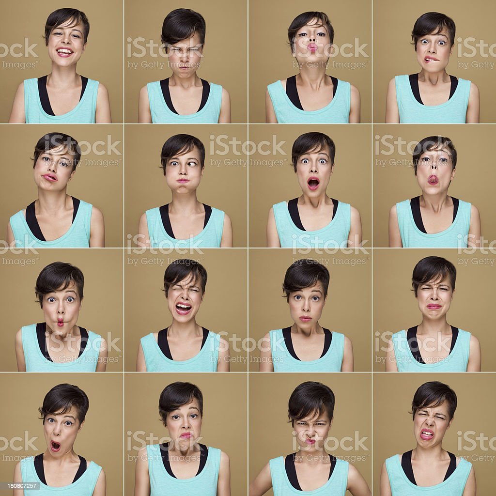 Young woman with 16 different facial expressions royalty-free stock photo