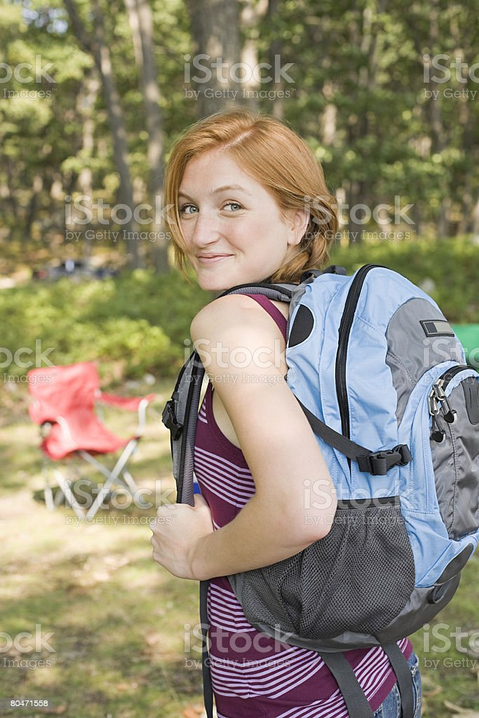 Young woman with a backpack royalty-free stock photo