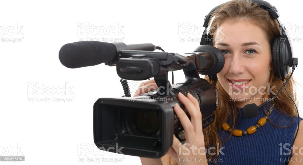 young woman with a camcorder, isolated  on white background stock photo