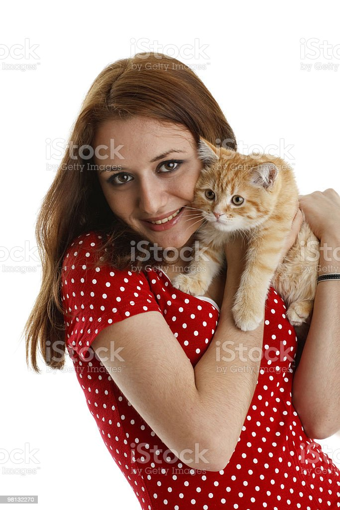 Young woman with a kitten royalty-free stock photo