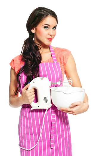 Young Woman With A Mixer Stock Photo - Download Image Now