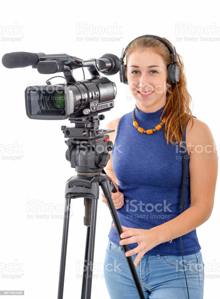 young woman with a video camera, on white background stock photo