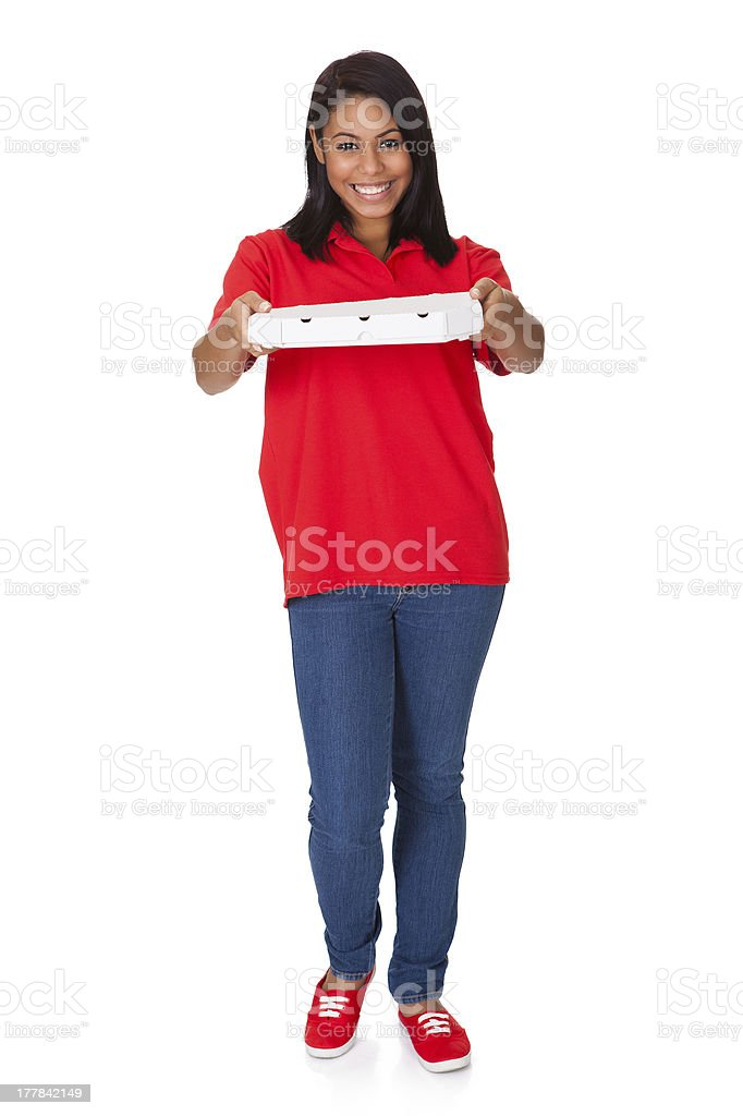 Young Woman With A Whole Pizza royalty-free stock photo