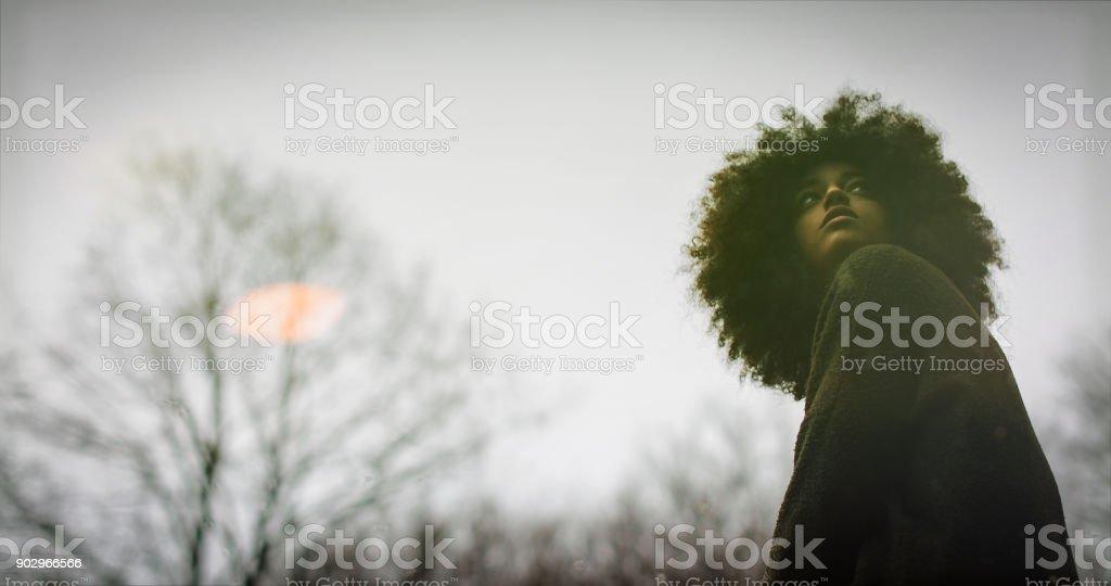 Mujer joven con peinado afro que explorar el bosque - foto de stock