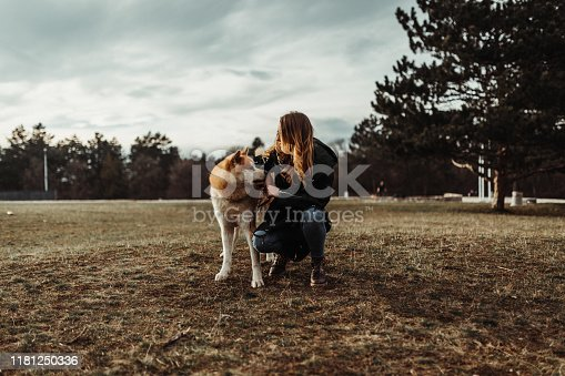 istock Young woman with Akita dog in the park on a lovely autumn day 1181250336