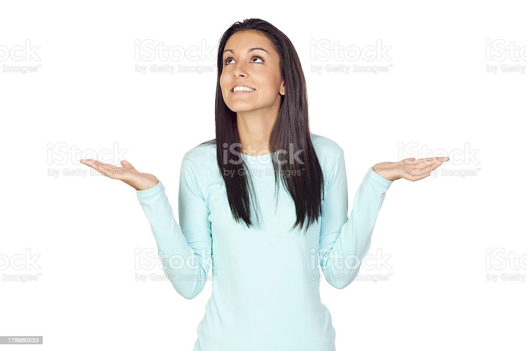 Young woman with arms opened stock photo