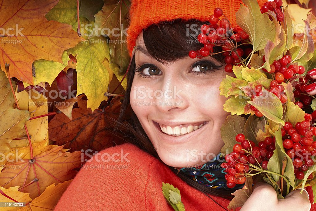 Young woman with autumn leaves. royalty-free stock photo