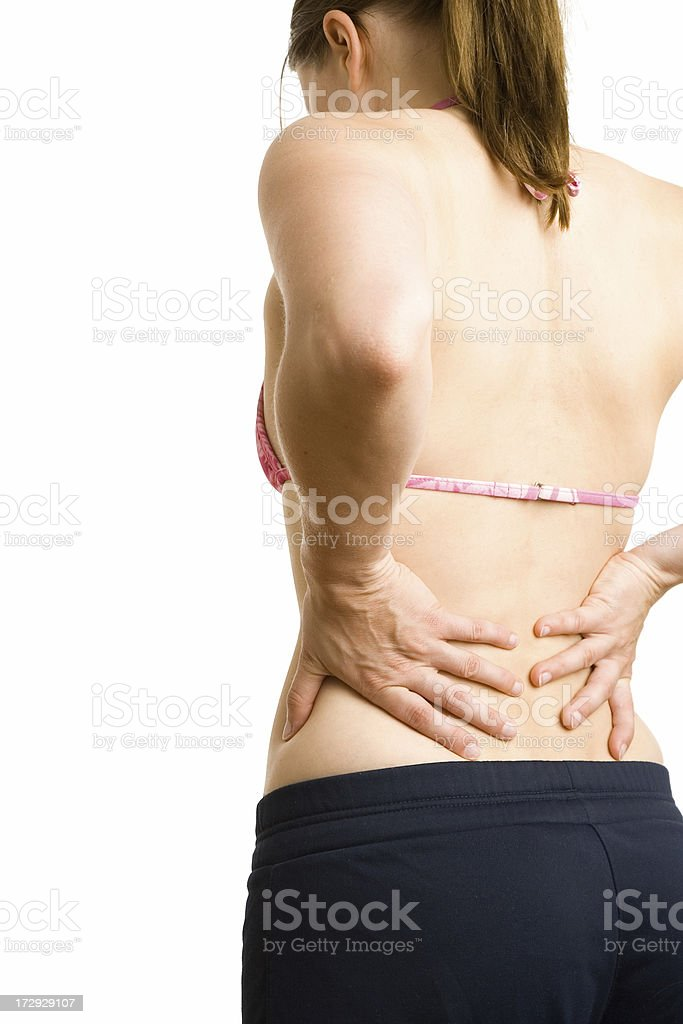 Young woman with backache royalty-free stock photo