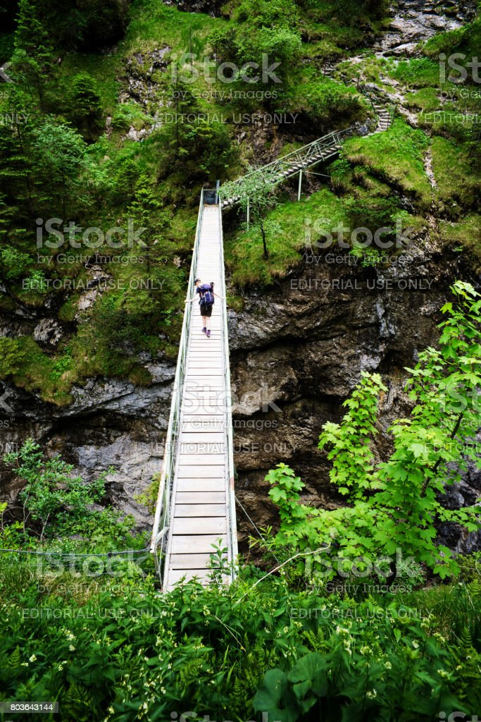 Young woman with backpack on a bridge across a canyon in bavaria stock photo
