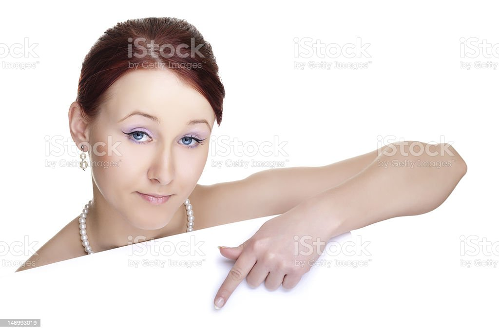 Young woman with banner royalty-free stock photo
