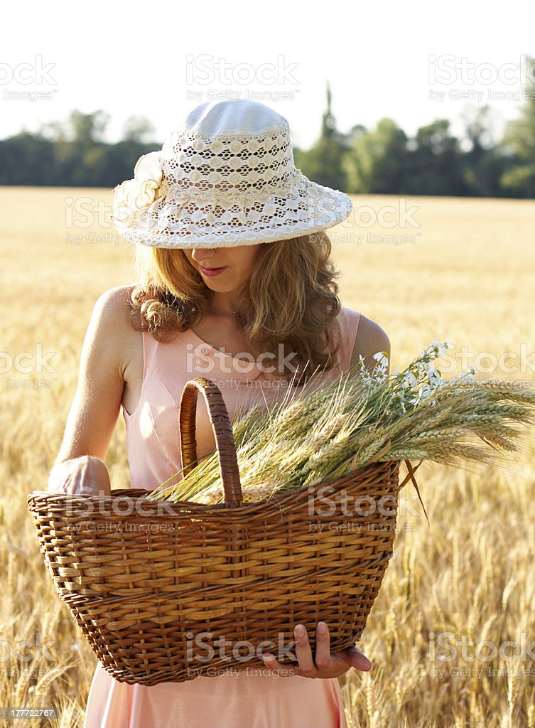 Young woman with basket full of ripe ears wheat royalty-free stock photo