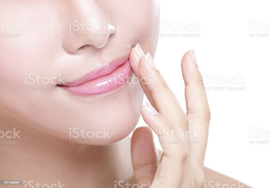 young woman with beautiful lips stock photo